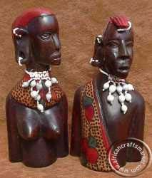 African Maasai couple bust Hand Carved, Carving, African, Jar, Couple, Christmas Ornaments, Holiday Decor, Wood Carvings, Christmas Jewelry