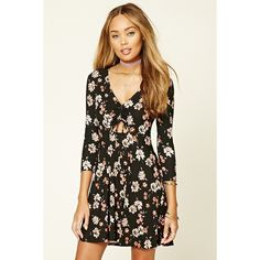 Forever21 Floral Mini Skater Dress (€18) ❤ liked on Polyvore featuring dresses, short mini dress, three quarter sleeve dresses, cut out dresses, short dresses and short sleeve dress