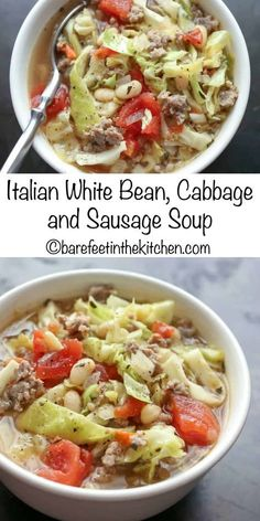 Italian White Bean, Cabbage, and Sausage Soup is a fall favorite! get the recipe… Italian White Bean, Cabbage, and Sausage Soup is a fall favorite! get the recipe at barefeetinthekitc… Bean And Sausage Soup, Cabbage And Sausage, Italian Sausage Soup, Italian Bean Soup, Italian Sausages, Cabbage Soup Recipes, Cabbage Soup Diet, Cabbage Stew, Potato Recipes