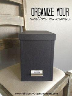 Organize Your Written Memorabilia // SimplyFabulousLiving.com