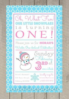 Winter ONEderland Invitations girl by LittleLawsPrints on Etsy, $25.95