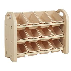 ECR4Kids 3 Tier Storage Organizer, Sand With 12 Sand Bins.