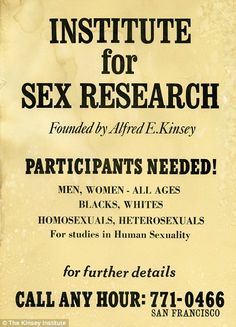 A vintage poster for Institute for Sex Research requesting volunteers...