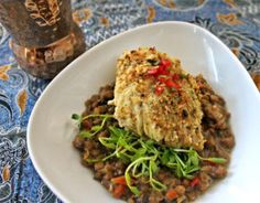 Curry Butter Icelandic Cod with Brandied Currants & Balsamic Infused Lentils Lentils, Cod, Food To Make, Curry, Butter, Beef, Recipes, Meat, Curries