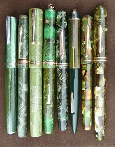 Green vintage fountain pens---love!