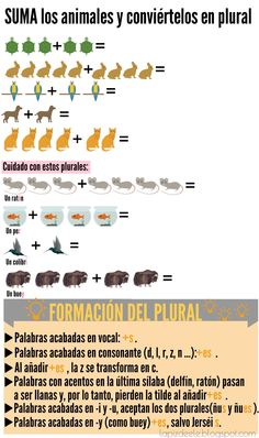 Formación del plural, vocabulario de animales, números y además, mates, en la misma ficha (y sin que se vuelvan locos!). ELE, Español, Spanish, Animals, Mathematics, Vocabulary.