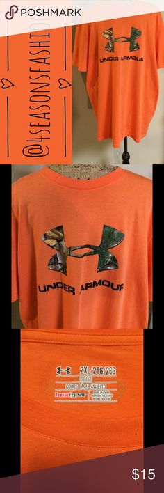 💥BRAND NEW LISTING💥 UNDER ARMOUR ORANGE TSHIRT IN LIKE NEW CONDITION. SIZE 2X LOOSE. Under Armour Shirts Tees - Short Sleeve