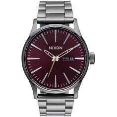 Nixon 'Sentry' Bracelet Watch, 42mm ($250) ❤ liked on Polyvore featuring jewelry, watches, bracelet watches, black bracelet, black stainless steel bracelet, bracelet jewelry and black jewelry