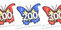 Here's a set of butterfly cards for counting by 100.