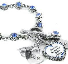Personalized Police Officer Jewelry, Birthstone Police Wife Bracelet, Deputy Sheriff, Highway Patrol, Law Enforcement Jewelry - Blackberry Designs Jewelry