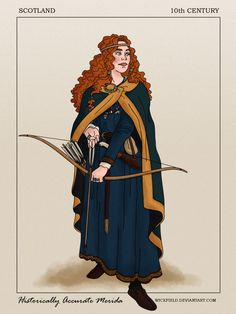 Merida ready for a century battle. 26 Historically Accurate Drawings Of Disney Princesses Worth Looking At Disney Fan Art, Disney Style, Disney Love, Disney Magic, Brave Disney, Merida Disney, Brave Merida, Disney Artwork, Disney Princess Gifts