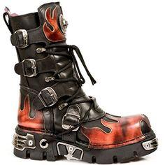 New Rock Bottes en moto noir imprimé en cuir noir - M.591.S1 (EU 46, noir) - Chaussures new rock (*Partner-Link)