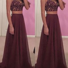 S166 gorgeous a-line two-piece v-neck burgundy long prom dress