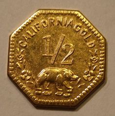 USA, CALIFORNIA GOLD RUSH, GOLD 1852 ---HALF DOLLAR. This tiny gold coin is about half the diameter of a dime.