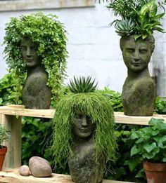 Déco jardin têtes coiffures végétales - Le serviettage de Nafeuse