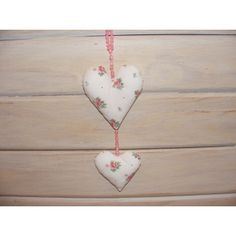 Handmade , Handstitched dou os Shabby Chick Hearts