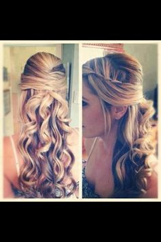 This half updo would be cute for a wedding or prom.