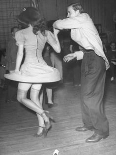 An Aircraft Worker Dancing with His Date at the Lockheed Swing Shift Dance ♡