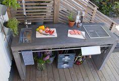 Картинки по запросу utekök Outdoor Kitchen Sink, Concrete Kitchen, Pia Portátil, Bbq Table, Pantry Inspiration, Garage Renovation, Backyard Buildings, Outdoor Rooms, Outdoor Tables