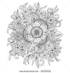 Vector abstract floral elements in Indian mehndi style. Abstract henna floral vector illustration. Monochrome design element.