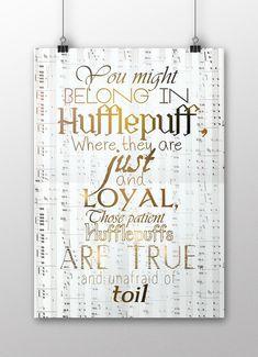 Harry Potter Poster, Hufflepuff Wall Decor, Harry Potter Hufflepuff Art Print, Hogwarts School, Hufflepuff, hp quote, A3 size (297mm x 420mm / 11.69 x 16.53 inches)