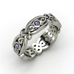 Brilliant Alhambra Band - Sterling Silver Ring with Iolite   Gemvara