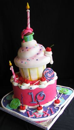 Whimsical 10th Birthday Cake - My first whimsical cake done for a sweet little 10 yr old. The client showed me a picture of what she wanted the cake based on and it was one of Andrea's Sweet Cakes! I didn't know if I could do it, but it was fun to try! TFL!