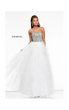 2014 Beaded Plunging Neck Gown by Sherri Hill 11085 White