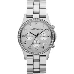 Marc by Marc Jacobs Henry Glitz Stainless Steel Chronograph Bracelet... (£155) ❤ liked on Polyvore featuring jewelry, watches, accessories, bracelets, bijoux, apparel & accessories, silver, womens jewellery, stainless steel jewelry and mens wrist watch
