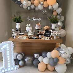 100 pcs party balloons garland kit latex peach silver confetti white gray balloon arch decorations for girl boy birthday baby shower wedding Deco Baby Shower, Cute Baby Shower Ideas, Baby Shower Themes, Baby Boy 1st Birthday Party, Birthday Party Themes, 20th Birthday, Confetti Balloons, Balloon Garland, Balloon Arch
