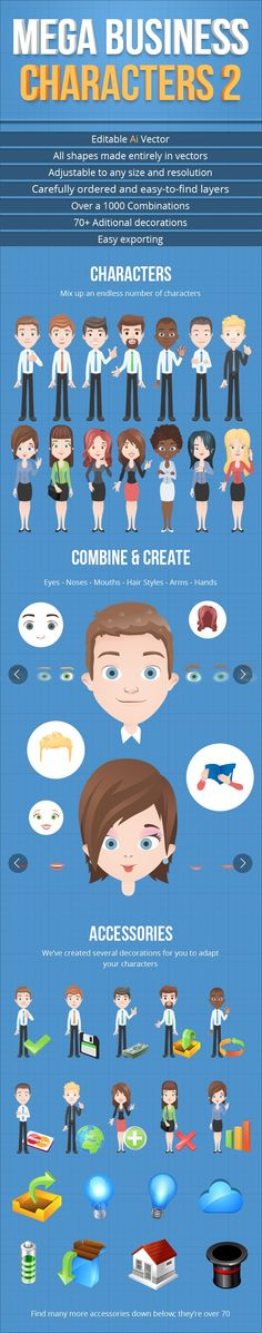 The second part of a business characters set with fully editable and resizable vector files, with over a 1000 combinations and 70 additional elements to complement.