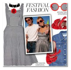 """""""Good Vibes Only: Festival Fashion"""" by paculi ❤ liked on Polyvore featuring Collectif, MANGO, Casadei, Preen, boho, gingham and festivalfashion"""