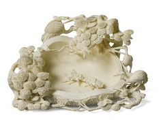 An ivory 'pine and crane' washer. China, Qing dynasty, circa 1900. washer ||| sotheby's l13211lot753g7en