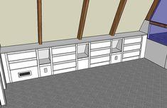 built in low shelving design for sloped ceiling ~jack's room