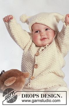 Jacket, hat with pompoms, mittens and socks pattern by DROPS design Baby Knitting Patterns, Baby Sweater Patterns, Knitting For Kids, Baby Patterns, Free Knitting, Knitting Projects, Drops Design, Baby Pullover Muster, Drops Baby