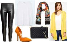 Black pants, white shirt, yellow cardigan, orange heels, printed scarf