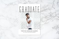 Printable Black and White Modern Photo Card Graduation