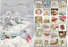 vintage village advent calendar  this is an advent calendar with a variety of vintage images hidden  cut the windows with a craft knife.  Mount the panel with the scenes on an A5 card front.  Mount the window panel on top of your scenes.