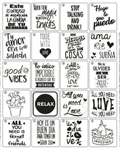tarros personalizados Free Printable Art, Free Printables, Scrapbooking, Scrapbook Paper, Cafe Quotes, Creative Wall Decor, Funny Doodles, Kitchen Art, Quotes For Kids