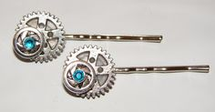 Set of two metal steampunk bobby pins with by LizziesBowtique1, $10.25