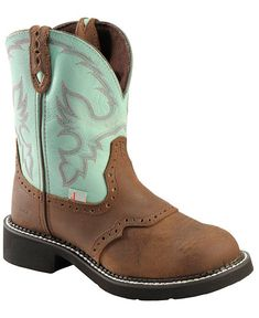 Justin Waterproof Gypsy Teal Cowgirl Boots - Round Toe