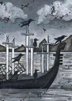 6 of swords (Tarot) I want to get something kind of similar to this with the boat/blackbirds.