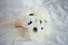 My silk and lace anemone bouquet for our Art Deco and Great Gatsby inspired wedding :) the feathers were a great touch!