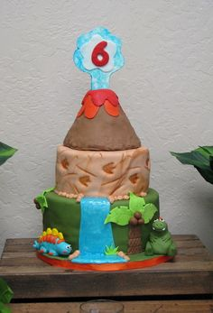 Cool cake at a Volcanoes and Dinosaurs boy Birthday Party!  See more party ideas at CatchMyParty.com!