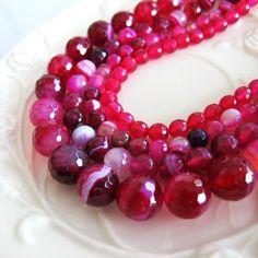 Bulk red agate beads  brazil natural agate gemstone by FARRAgem, $28.50