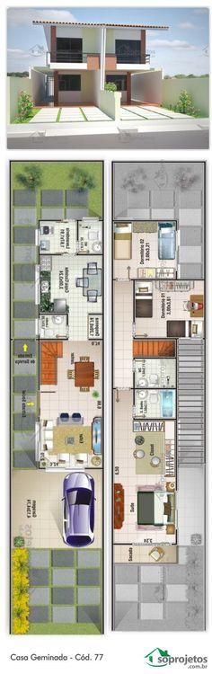 Projeto de casa Geminada, com 2 dormitório, e uma suíte com acesso a varanda. Garagem com área de 17,74 m² Sala de estar e jantar conjugadas. Tyni House, Duplex House, Small Space Interior Design, Small House Design, Home Design Plans, Plan Design, Modern House Plans, House Floor Plans, Narrow House