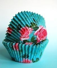 "Designer ""Liv"" Blue with Pink Roses Cupcake LIners (20)"