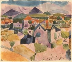 """""""Art should be like a holiday: something to give a man the opportunity to see things differently and to change his point of view.""""  – Paul Klee, Swiss, German, painter (watercolor """"Tunisian landscape"""" by Paul Klee)"""