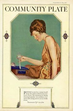 COLES PHILLIPS - COMMUNITY PLATE AD - 1924 - Beautiful Woman SILVER