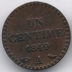 France : 1 Centime 1849 A